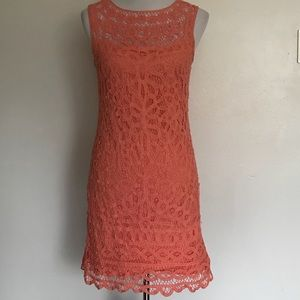 Lilly Pulitzer Peach Crochet Dress Stretchy SZ S